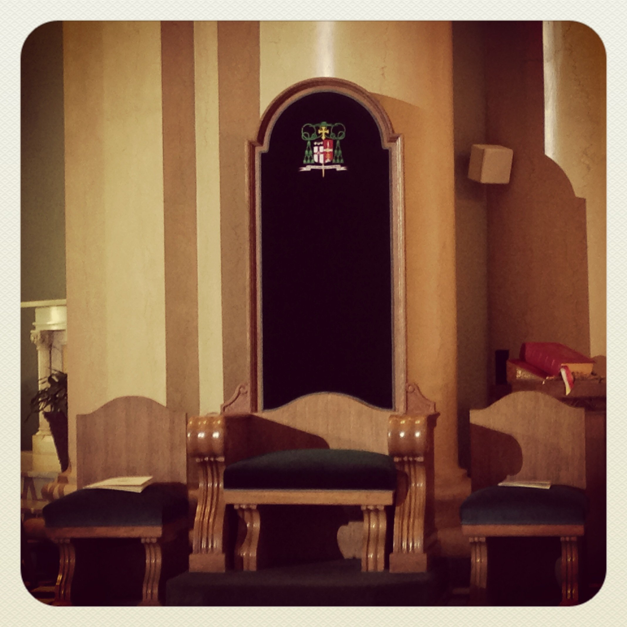 The Bishopu0027s Chair, Called A Cathedra, Has Been Updated With Bishop  Gaineru0027s Coat Of