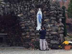 The Virgin Mary prepares for her close up.
