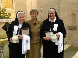 (l to r) Sister Clare Christi Schiefer, OSF, PCHA President; Sister Michael Ann Orlik, SS.C.M., Superior General, Sisters of Saints Cyril and Methodius; Sister Romaine Niemeyer, SCC, Chief Adm. Officer, Holy Spirit Hospital