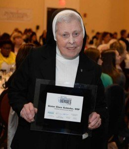 Sr. Clare Christi Schiefer receives her award. Photo courtesy of Central Penn Parent.